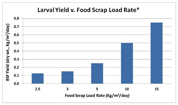 graph displaying theoretical yield of BSF prepupa harvest versus food scrap load rate